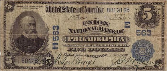 Union National Bank of Philadelphia (563) Five Dollar Bill Series 1902 Blue Seal