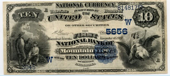 First National Bank of Mountain View National Currency dollar bill