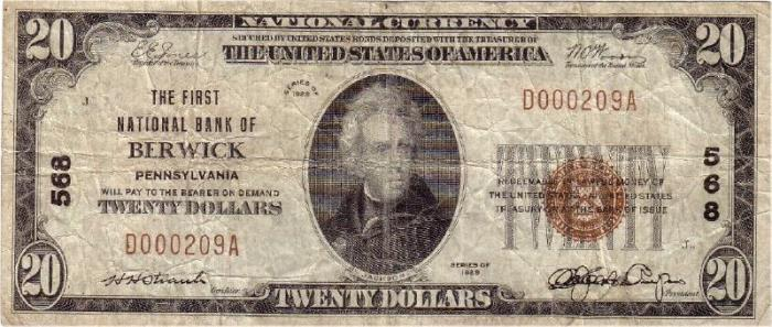 First National Bank of Berwick National Currency dollar bill
