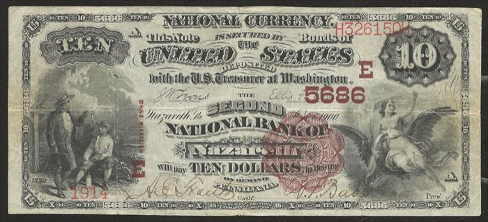 Second National Bank of Nazareth National Currency dollar bill