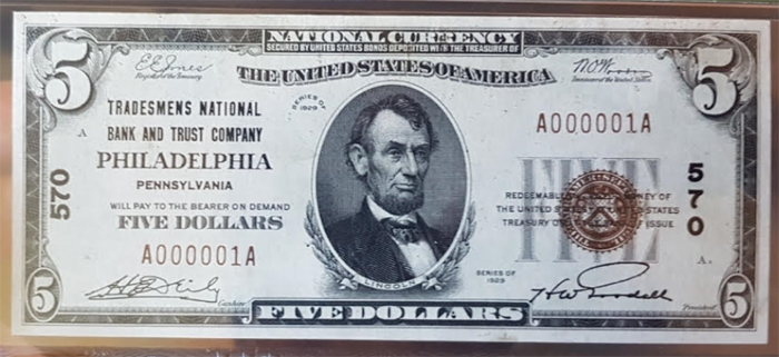 Tradesmens National Bank of Philadelphia National Currency dollar bill