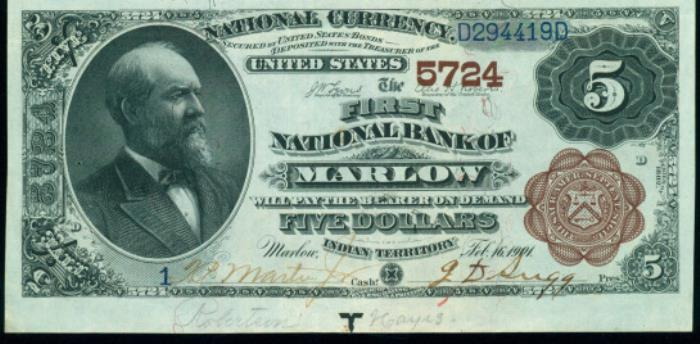 First National Bank of Marlow National Currency dollar bill