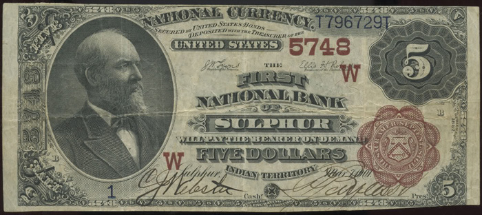 First National Bank of Sulphur National Currency dollar bill