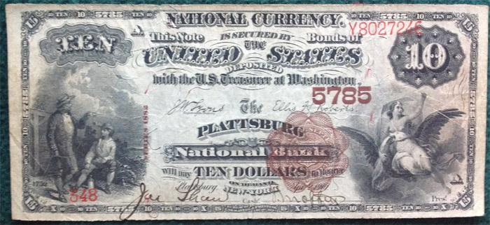 Plattsburg National Bank, Plattsburg (5785) Ten Dollar Bill Series 1882 Brownback