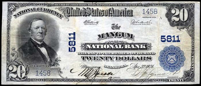 Mangum National Bank, Mangum National Currency dollar bill