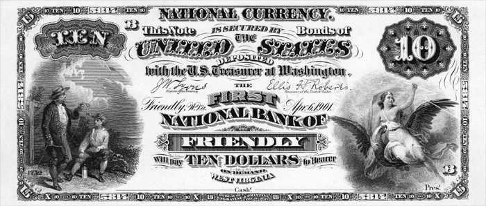 First National Bank of Friendly National Currency dollar bill
