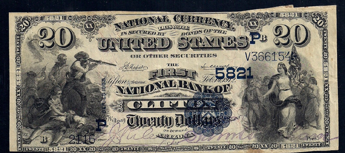 First National Bank of Clifton National Currency dollar bill