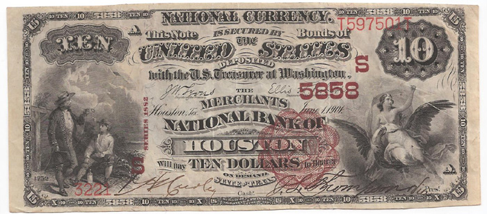 Merchants National Bank of Houston National Currency dollar bill