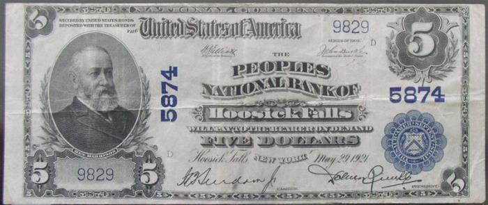 Peoples National Bank of Hoosick Falls National Currency dollar bill