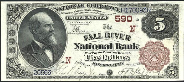 Fall River National Bank, Fall River National Currency dollar bill