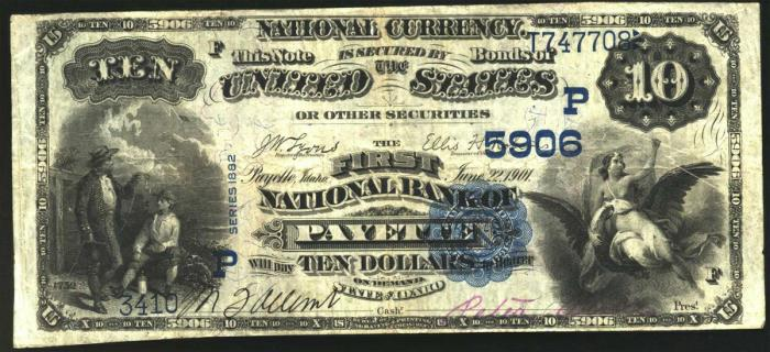 First National Bank of Payette National Currency dollar bill
