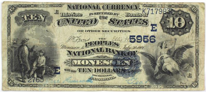 Peoples National Bank of Monessen National Currency dollar bill