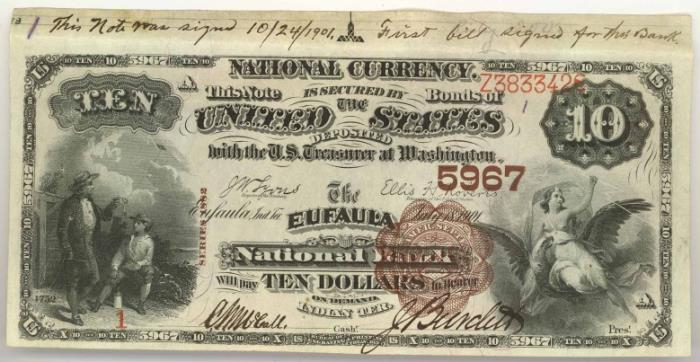 Eufaula National Bank, Eufaula National Currency dollar bill