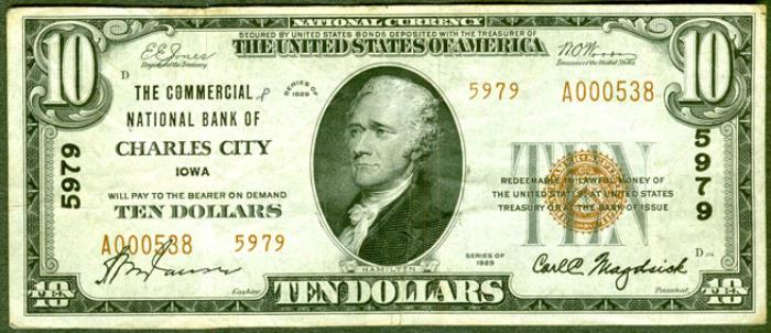 Commercial National Bank of Charles City National Currency dollar bill