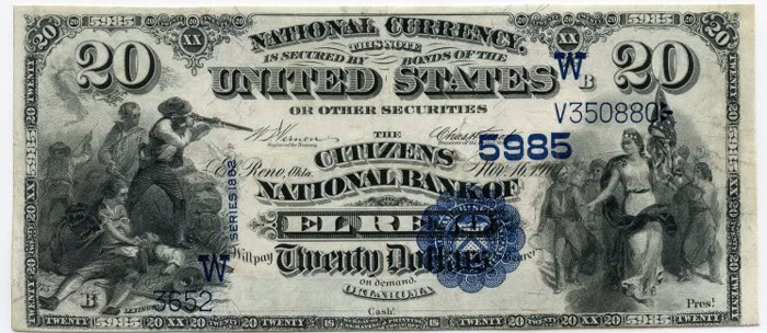 Citizens National Bank of El Reno National Currency dollar bill