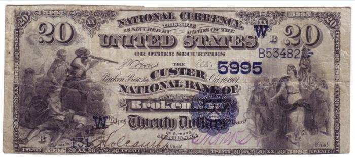 Custer National Bank of Broken Bow National Currency dollar bill