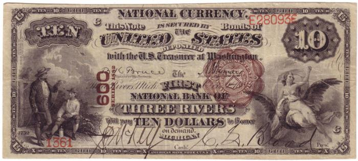 First National Bank of Three Rivers National Currency dollar bill