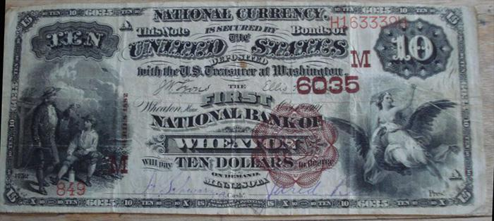 First National Bank of Wheaton National Currency dollar bill