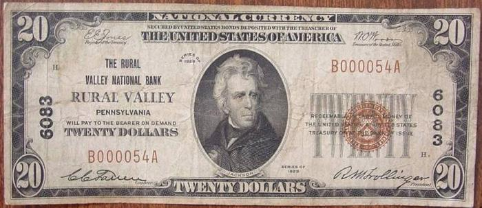 Rural Valley National Bank, Rural Valley National Currency dollar bill
