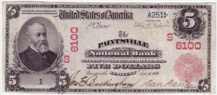 Paintsville National Bank, Paintsville (6100) Five Dollar Bill Series 1902 Red Seal