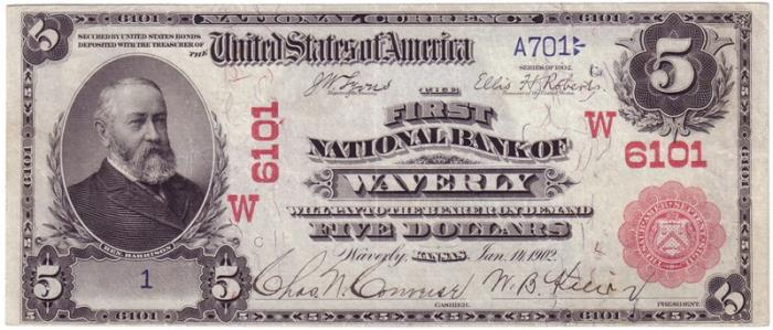 First National Bank of Waverly National Currency dollar bill