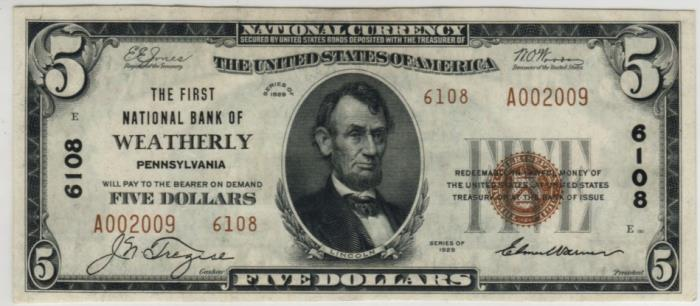 First National Bank of Weatherly National Currency dollar bill
