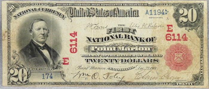 First National Bank of Point Marion National Currency dollar bill