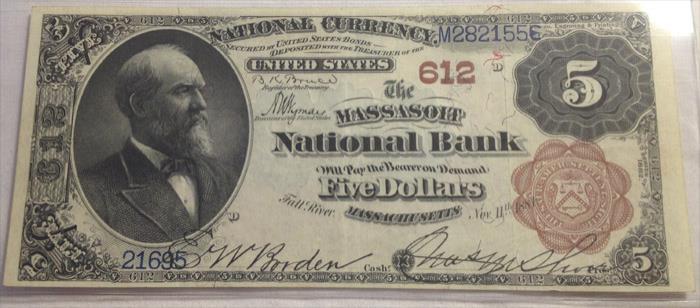 Massasoit National Bank of Fall River National Currency dollar bill