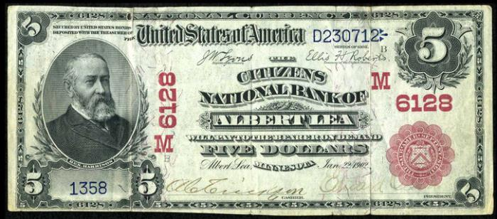 Citizens National Bank, Albert Lea National Currency Bank Note Dollar Bill