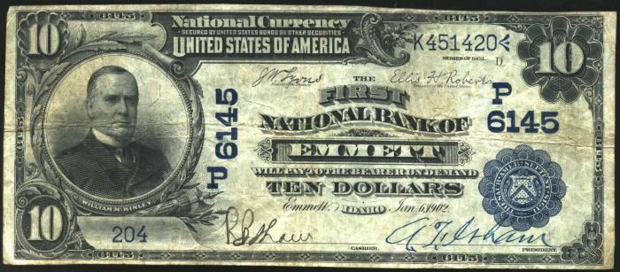 First National Bank of Emmett (6145) Ten Dollar Bill Series 1902 Blue Seal
