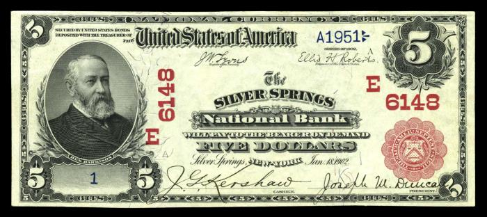 Silver Springs National Bank, Silver Springs (6148) Five Dollar Bill Series 1902 Red Seal