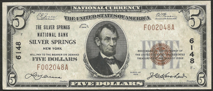 Silver Springs National Bank, Silver Springs (6148) Five Dollar Bill Series 1929