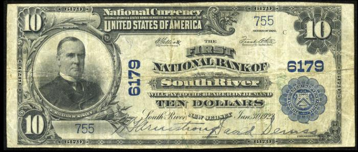 First National Bank of South River National Currency dollar bill