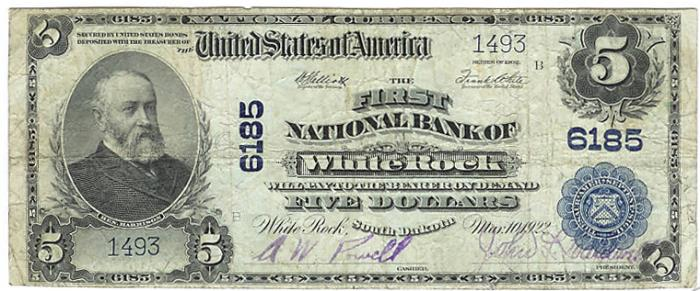 First National Bank of White Rock National Currency Bank Note Dollar Bill