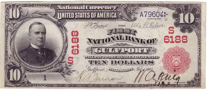 First National Bank of Gulfport National Currency dollar bill