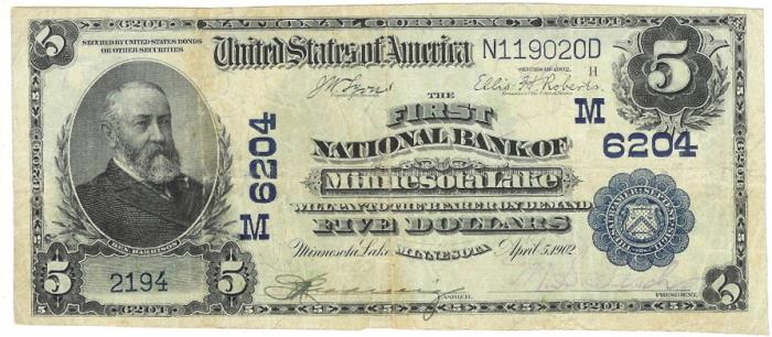 First National Bank, Minnesota Lake National Currency dollar bill