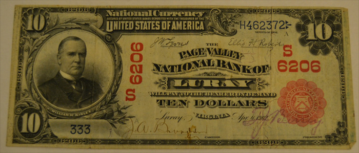Page Valley National Bank of Luray National Currency dollar bill