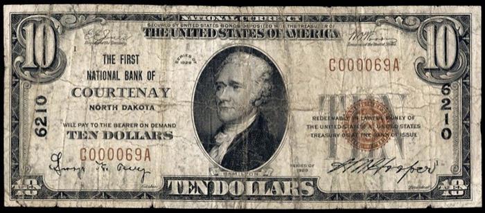 First National Bank of Courtenay (6210) Ten Dollar Bill Series 1929