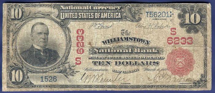 Williamstown National Bank, Williamstown National Currency dollar bill