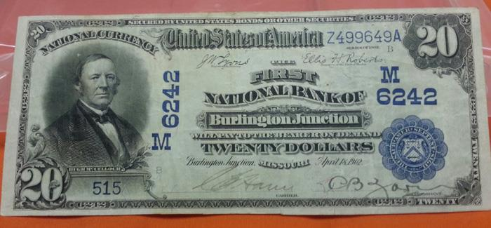 First National Bank of Burlington Junction National Currency dollar bill