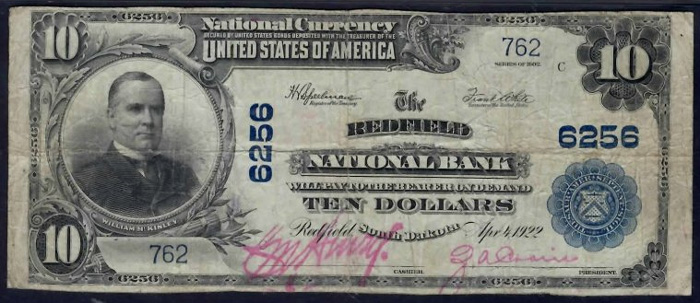 Redfield National Bank, Redfield National Currency dollar bill