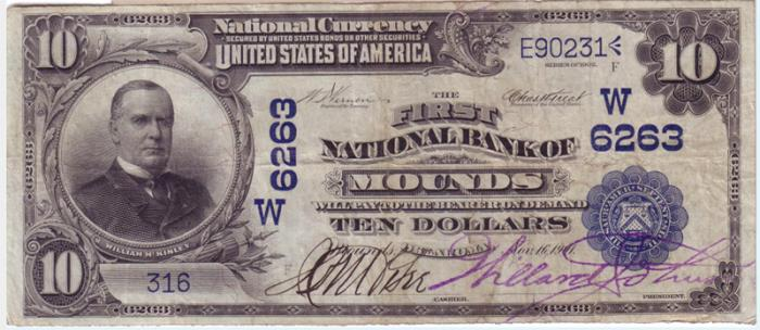 First National Bank of Mounds National Currency dollar bill