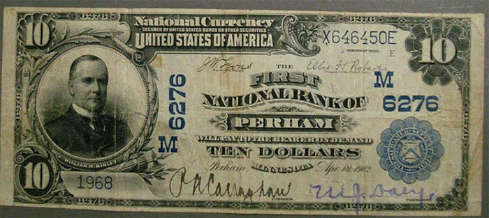 First National Bank of Perham National Currency dollar bill