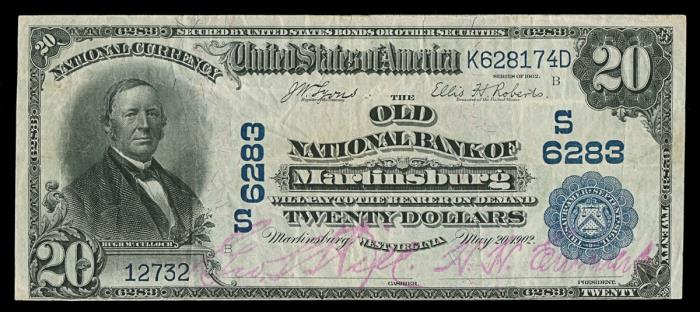 Old National Bank of Martinsburg National Currency dollar bill