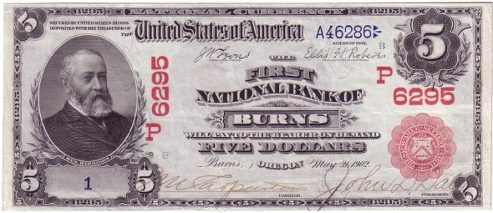 First National Bank of Burns (6295) Five Dollar Bill Series 1902 Red Seal