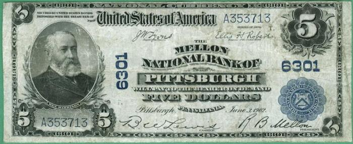Mellon National Bank of Pittsburgh National Currency dollar bill