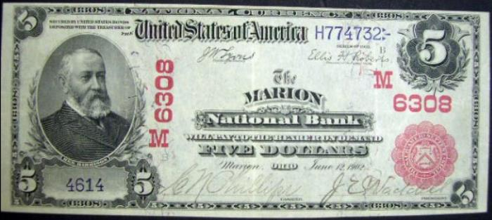 Marion National Bank, Marion National Currency dollar bill
