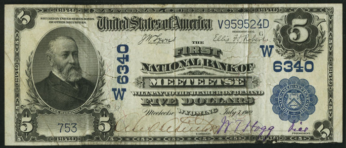 First National Bank of Meeteetse National Currency dollar bill