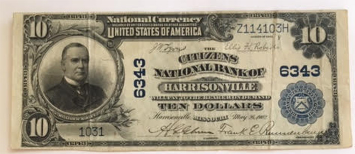Citizens National Bank of Harrisonville National Currency dollar bill