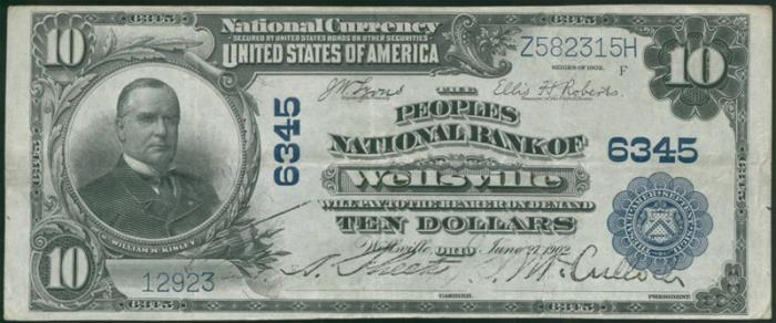 Peoples National Bank of Wellsville National Currency dollar bill